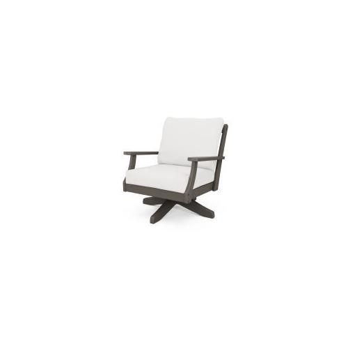 Braxton Deep Seating Swivel Chair in Vintage Coffee / Natural Linen