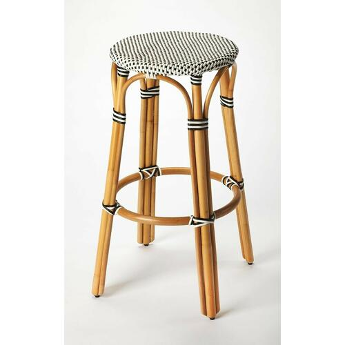 Evoking images of sidewalk tables in the Cote d'Azur, barstools like this will give your kitchen or patio the casual sophistication of a Mediterranean coastal bistro. Expertly crafted from thick bent rattan for superb durability, it features weather resistant woven plastic in a black and white striped pattern. This backless barstool is lightweight for easy mobility with comfort to make the space it's in a frequent gathering place.