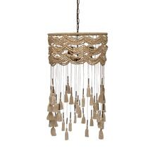 "Product Image - 19-1/2"" Round x 34-3/4""H Cotton, Metal & Wood Bead Pendant Lamp w/ 3 Lights & Tassels"