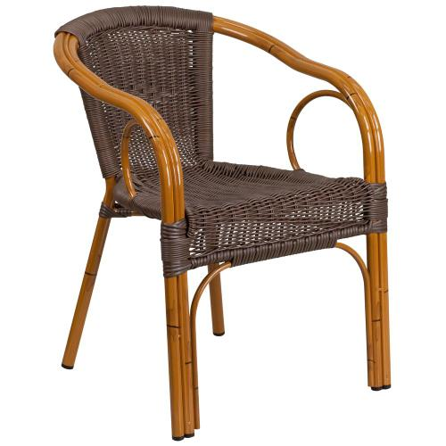 Dark Brown Rattan Restaurant Patio Chair with Red Bamboo-Aluminum Frame