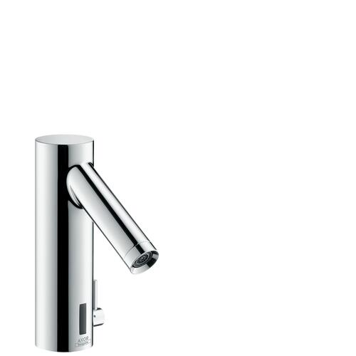Chrome Electronic basin mixer with temperature control battery-operated