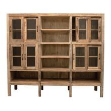 """See Details - 85""""W x 18""""D x 74""""H Reclaimed Wood & Cabinet with Glass Doors & 11 Shelves, Truck Ship"""