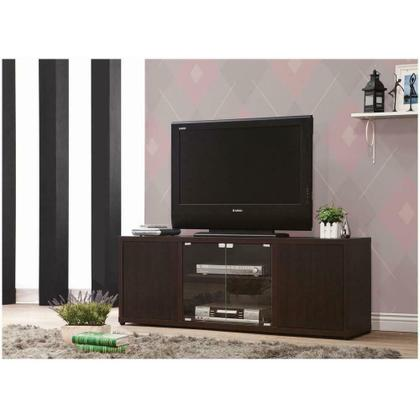 See Details - Casual Cappuccino TV Console With Push-to-open Glass Doors