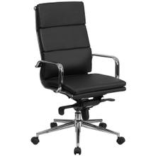 High Back Black Leather Executive Swivel Chair with Synchro-Tilt Mechanism and Arms