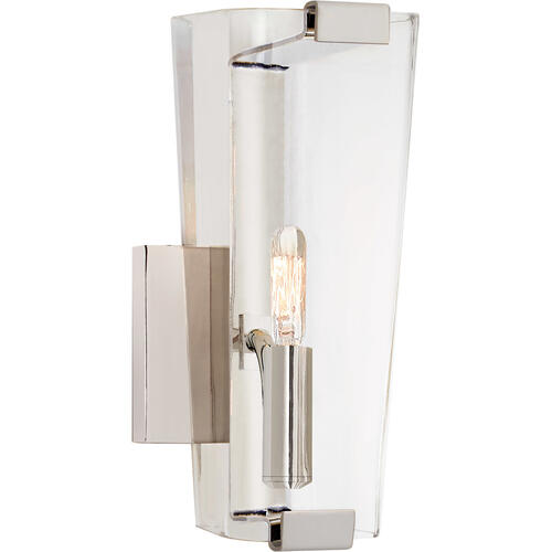 AERIN Alpine 1 Light 5 inch Polished Nickel Single Sconce Wall Light in Clear Glass, Small