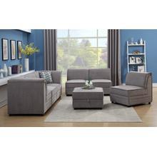 See Details - Charlotte Modular Armless Chair, Gray