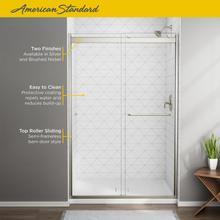 See Details - Top-Roller Semi-Frameless Sliding Shower Door - 56-60 Inch  American Standard - Brushed Nickel