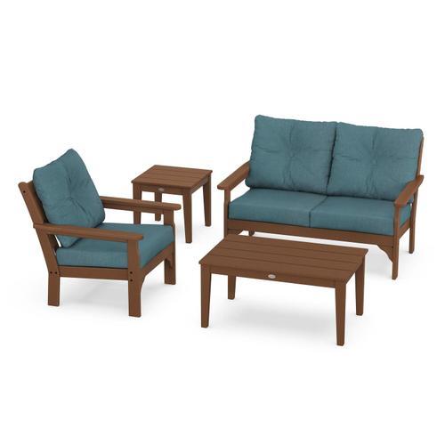 Vineyard 4-Piece Deep Seating Set in Teak / Ocean Teal