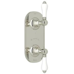 1/2 Inch Thermostatic and Diverter Control Trim - Polished Nickel with White Porcelain Lever Handle