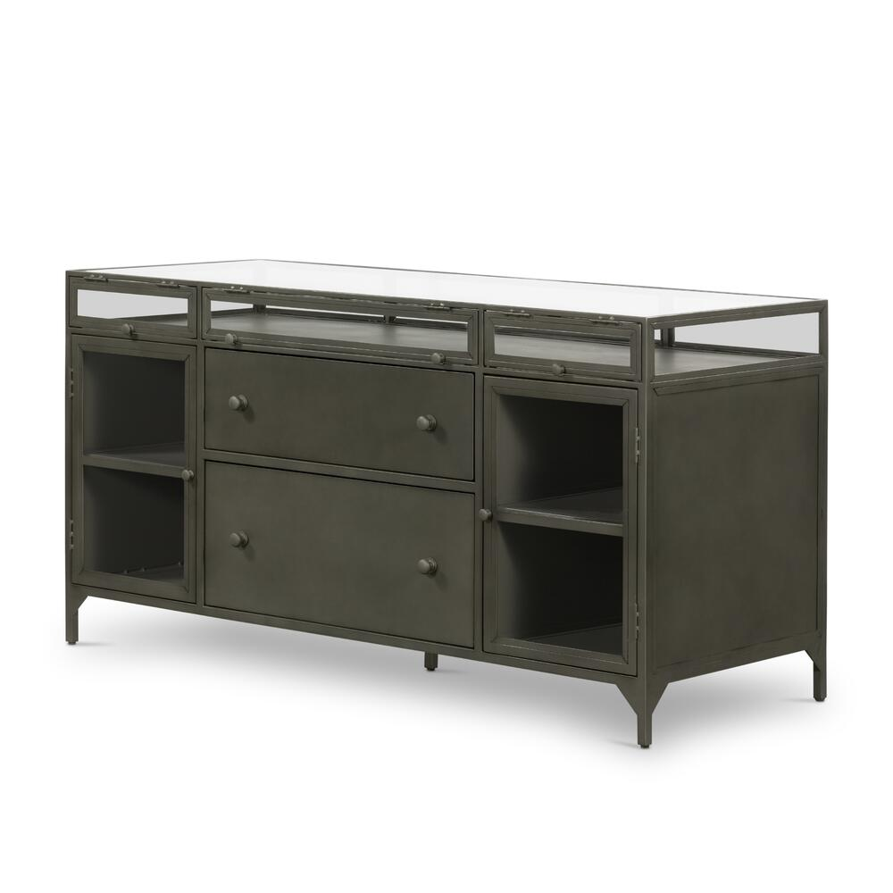 Gunmetal Finish Shadow Box Modular Filing Credenza