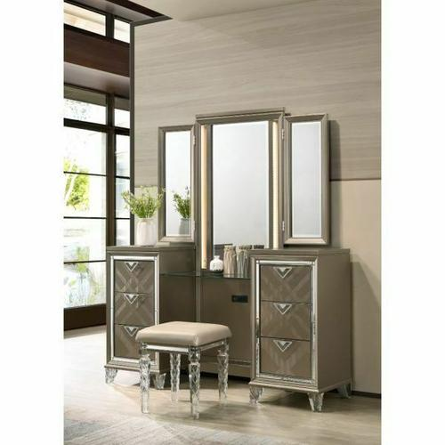 ACME Skylar Vanity Desk & Mirror - 25327 - Glam, Contemporary - Mirror, LED, Wood (Rbw), Paper Veneer (PU), MDF, PB, Acrylic Leg - LED and Dark Champagne