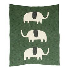 "40""L x 32""W Cotton Knit Baby Blanket w/ Elephant, Green"