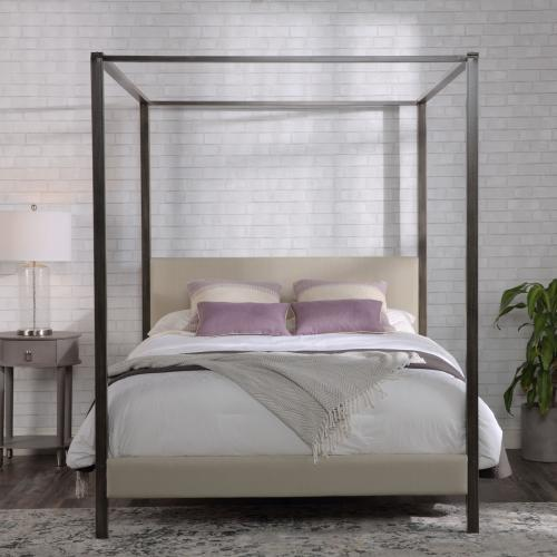 Avalon Complete Metal Canopy Platform Bed and Bedding Support System with Platinum Upholstery and 80-Inch Bed Posts, Slate Finish, King