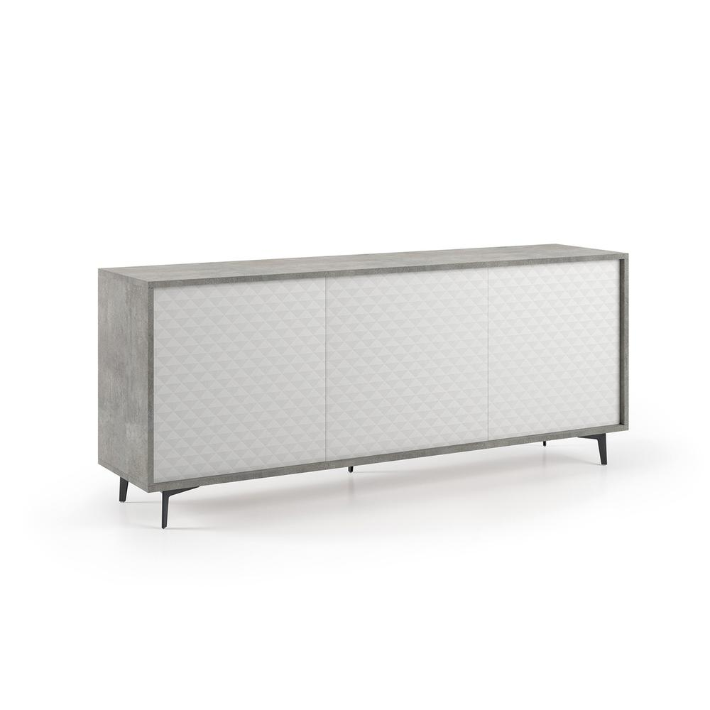 The Lenox Buffet-server Part Of Our Kd Collection In Light Gray Concrete Grain Melamine Frame With White Pattern Melamine Doors