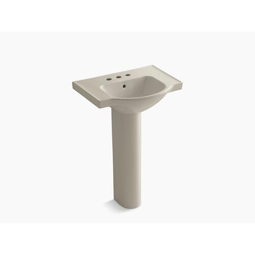 "Sandbar 24"" Pedestal Bathroom Sink With 4"" Centerset Faucet Holes"