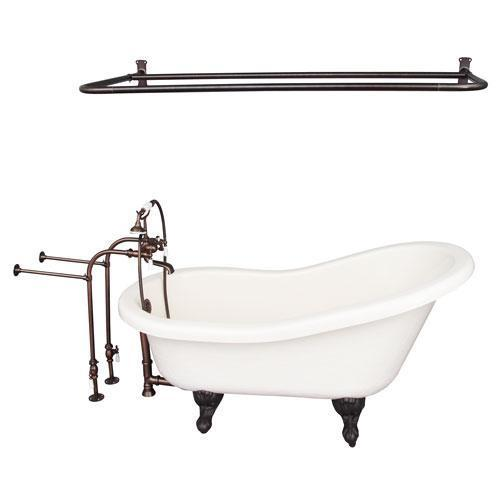 "Estelle 60"" Acrylic Slipper Tub Kit in Bisque - Oil Rubbed Bronze Accessories"