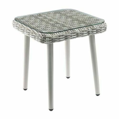 ACME Tashay 3Pc Patio Bistro Set - 45005 - Green Fabric & Beige Wicker