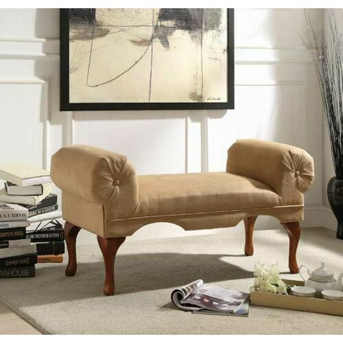 ACME Aston Bench w/Rolled Arm - 05629 - Beige Microfiber