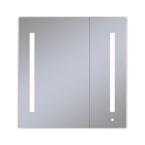 """Aio 29-1/4"""" X 30"""" X 4"""" Dual Door Lighted Cabinet With Large Door At Left With Lum LED Lighting In Bright White (4000k), Dimmable, Interior Lighting, Electrical Outlet, Usb Charging Port and Magnetic Storage Strip"""