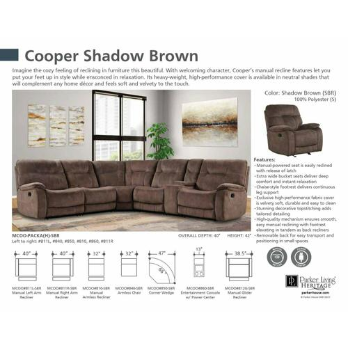 Parker House - COOPER - SHADOW BROWN Manual Armless Recliner
