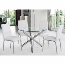 "See Details - Solara II 5pc Dining Set, 40"" Dia., Chrome/White"