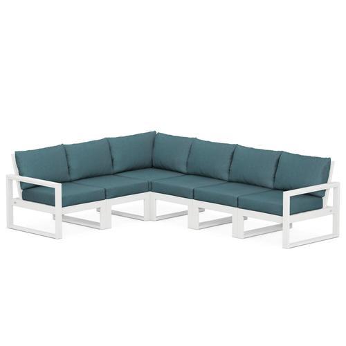Polywood Furnishings - EDGE 6-Piece Modular Deep Seating Set in White / Ocean Teal