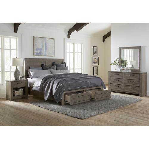 Ruff Hewn Queen / King Panel Bed Storage Side Rails in Weathered Taupe