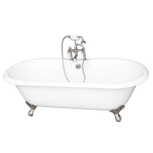 "Columbus 61"" Cast Iron Double Roll Top Tub Kit - Brushed Nickel Accessories"