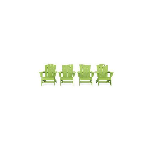 Polywood Furnishings - Wave Collection 4-Piece Adirondack Chair Set in Lime