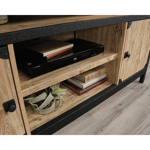 Sauder - Industrial Metal & Wood TV Credenza with Doors
