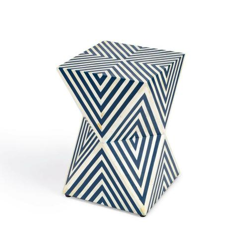 This cubic end table is an eye-catching addition to the living room, bedroom, or office space. This artisanal accent is expertly hand crafted from bone inlays that are hand-cut, individually formed, and arranged with painstaking detail including a transfixing modern geometric pattern and a hand-dyed botanical motif. Made from engineered wood and resin, it features cut-out sections all around its base for a stunning prismatic effect.