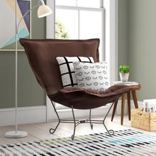 See Details - Scroll Puff Chair Sterling Chocolate Titanium Frame
