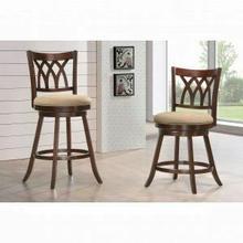 "ACME Tabib Counter Height Chair w/Swivel - 96217 - Fabric & Espresso - 24"" Seat Height"