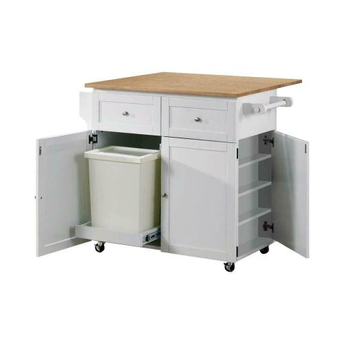 Coaster - Transitional Natural Brown and White Kitchen Cart