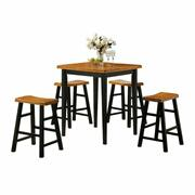 ACME Gaucho 5Pc Pack Counter Height Set - 07285 - Oak & Black Product Image
