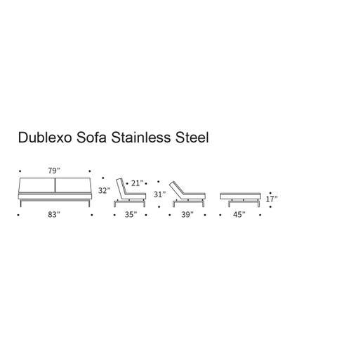 "Product Image - DUBLEXO SOFA, 45""X83""/SP SOFA LEGS, STAINLESS STEEL/BLACK"