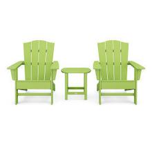 View Product - Wave 3-Piece Adirondack Chair Set with The Crest Chairs in Lime