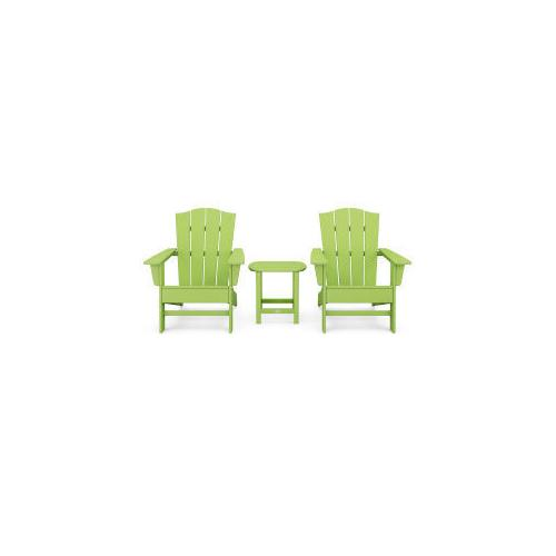 Polywood Furnishings - Wave 3-Piece Adirondack Chair Set with The Crest Chairs in Lime