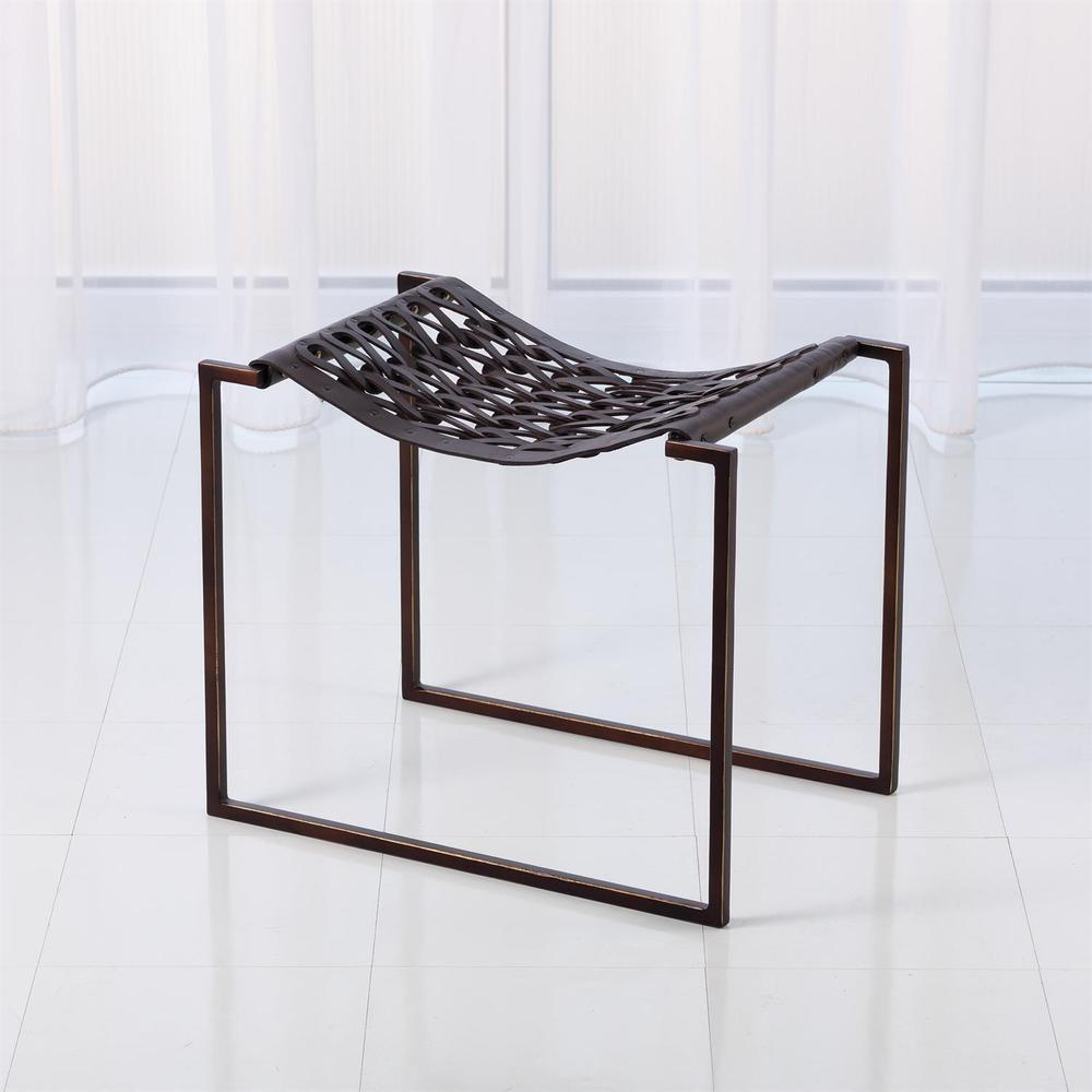 See Details - Knit Pearl Stool-Bronze-Dark Brown Leather