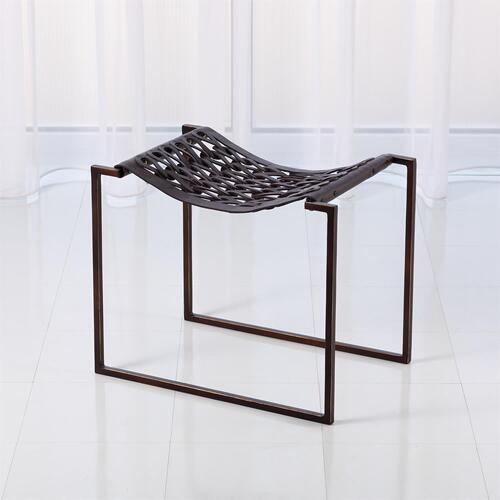 Knit Pearl Stool-Bronze-Dark Brown Leather