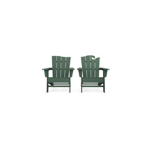 Polywood Furnishings - Wave 2-Piece Adirondack Set with The Wave Chair Left in Green
