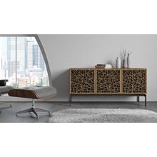 View Product - Elements 8777 Console Storage Console in Ricochet Doors Natural Walnut