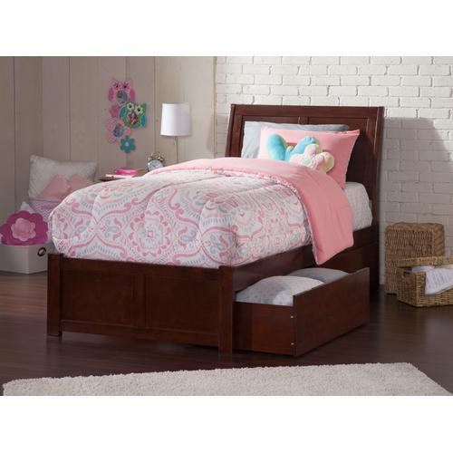 Atlantic Furniture - Portland Twin XL Flat Panel Foot Board with 2 Urban Bed Drawers Walnut
