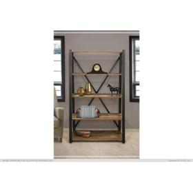"""See Details - 70"""" Wood and Metal Bookcase"""