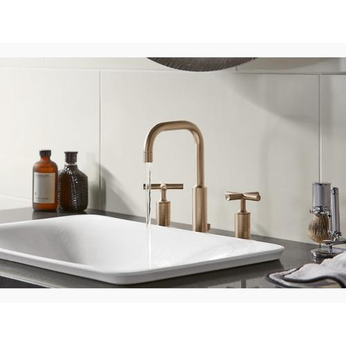 Vibrant Brushed Bronze Widespread Bathroom Sink Faucet With Low Cross Handles and Low Gooseneck Spout