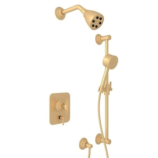 Satin Brass GRACELINE PRESSURE BALANCE SHOWER PACKAGE with Metal Dial Handle Graceline Series Only