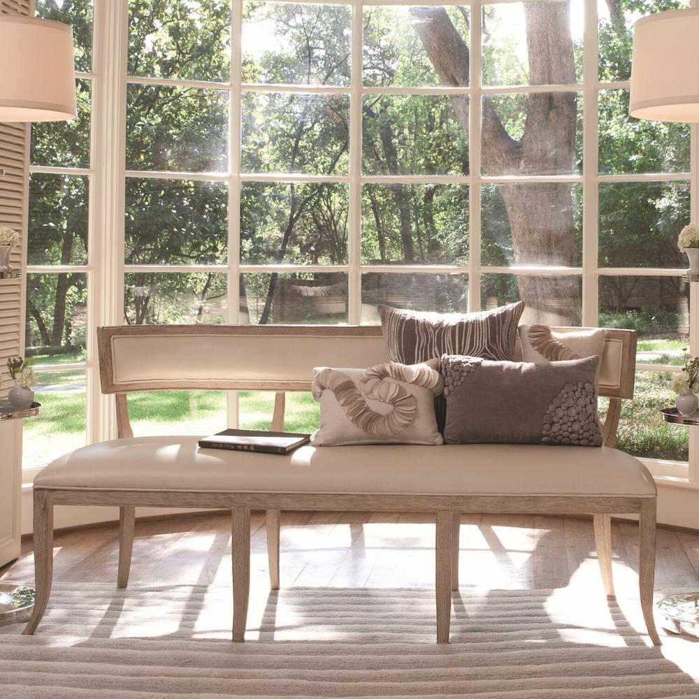 See Details - Klismos Bench-Beige Leather