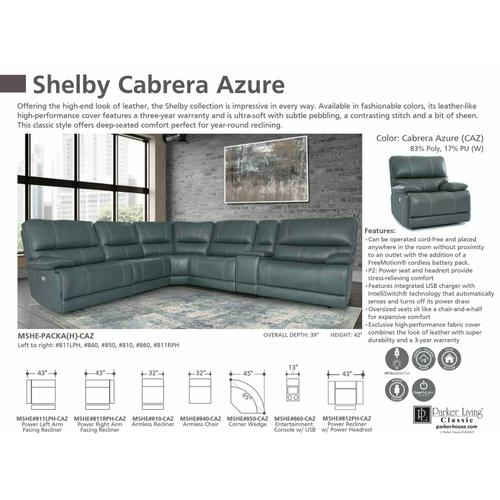 Parker House - SHELBY - CABRERA AZURE Manual Armless Recliner