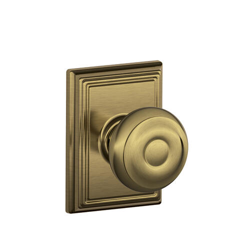 Georgian Knob with Addison trim Hall & Closet Lock - Antique Brass