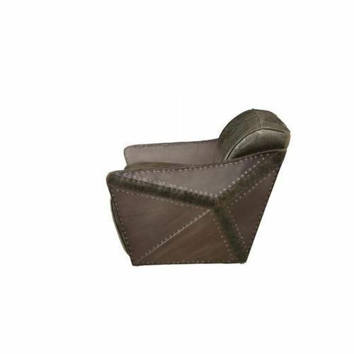 ACME Winchester Loveseat - 52436 - Aluminum & Distress Espresso Top Grain Leather